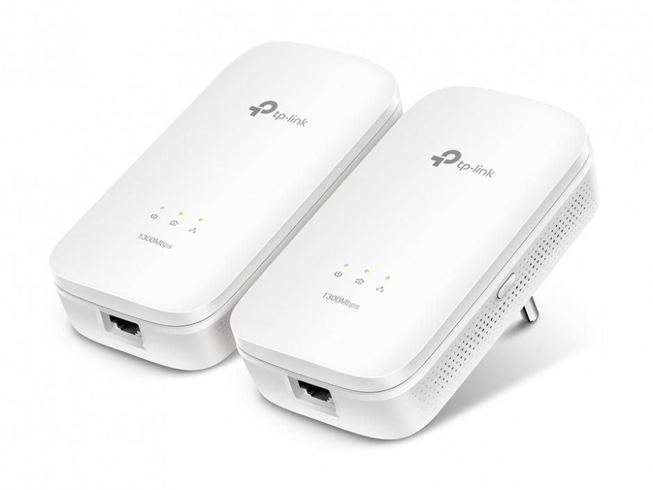 Imagine Kit Adaptor Powerline AV1200, priza AC, Gigabit, TP-LINK TL-PA8010PKIT