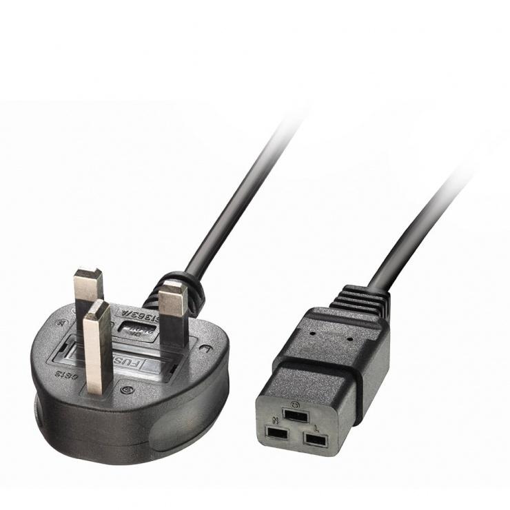 Imagine Cablu de alimentare UK 3 pini la IEC C19 2m Negru, Lindy L30459