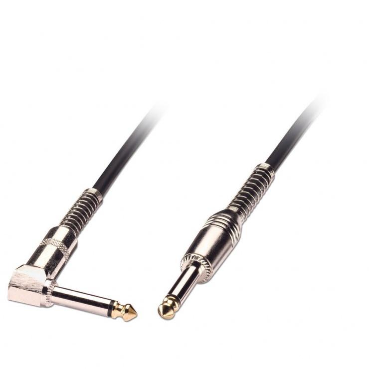 Imagine Cablu audio jack mono 6.35mm (pentru chitara) unghi 90 grade T-T 6m negru, Lindy L6036