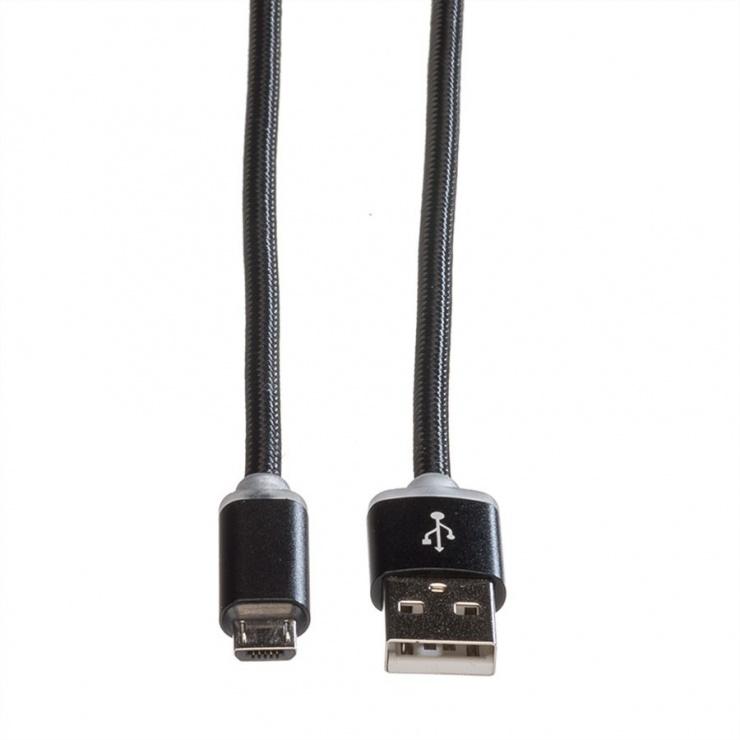 Imagine Cablu USB la micro USB pentru incarcare cu indicator LED 1m Negru, Roline 11.02.8318-1