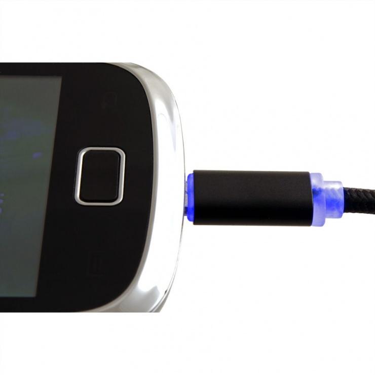 Imagine Cablu USB la micro USB pentru incarcare cu indicator LED 1m Negru, Roline 11.02.8318-5