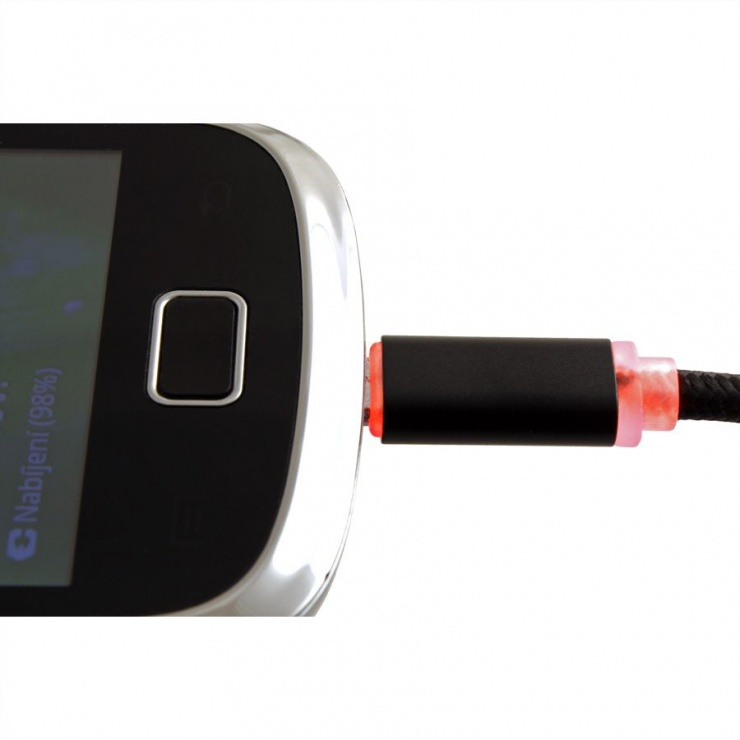 Imagine Cablu USB la micro USB pentru incarcare cu indicator LED 1m Negru, Roline 11.02.8318-6