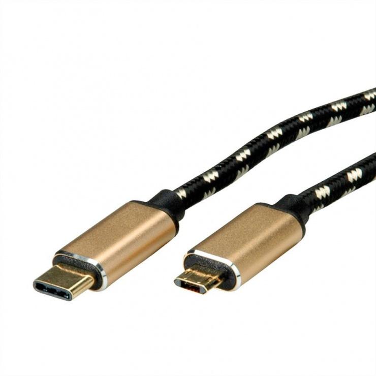 Imagine Cablu GOLD USB 2.0 tip C la micro USB-B reversibil T-T 1.8m, Roline 11.02.8790-1