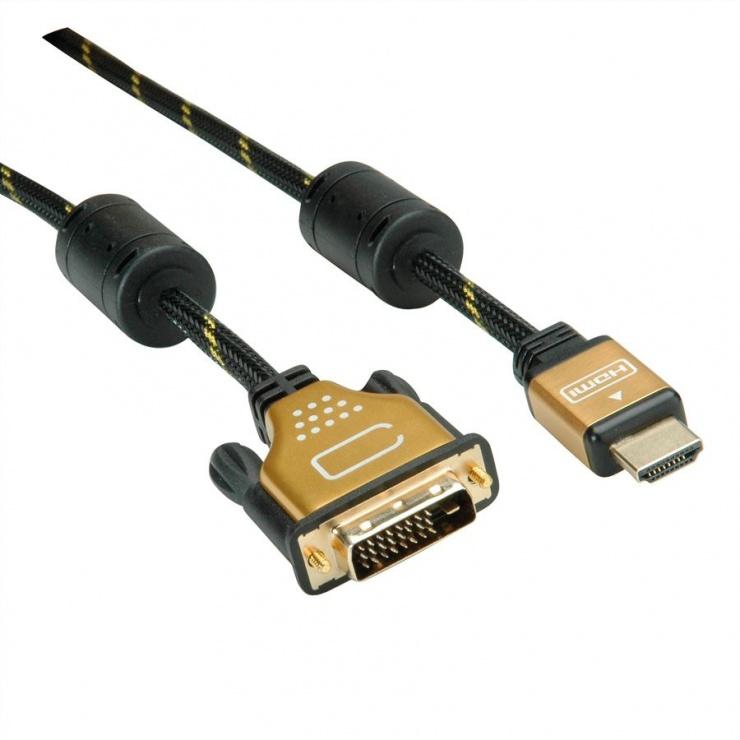 Imagine Cablu HDMI la DVI-D 24+1 pini T-T GOLD 1.5m, Roline 11.04.5896-1