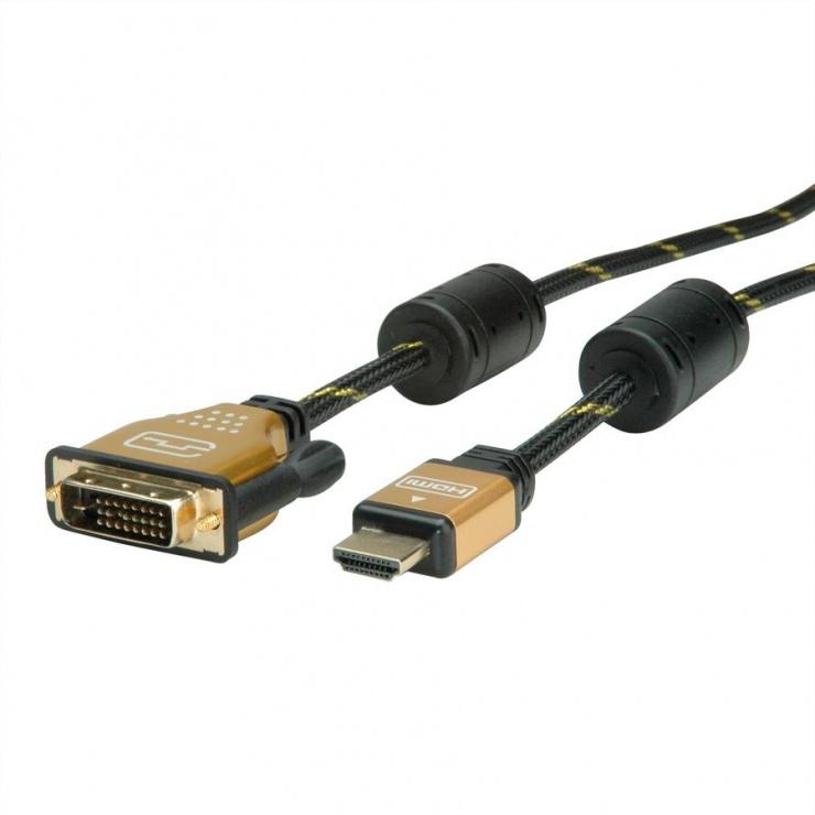 Imagine Cablu HDMI la DVI-D 24+1 pini T-T GOLD 1.5m, Roline 11.04.5896-3