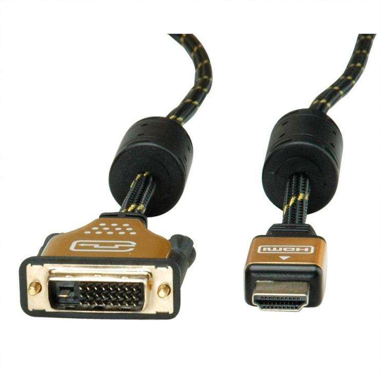 Imagine Cablu HDMI la DVI-D Dual Link 24+1 pini T-T GOLD 7.5m, Roline 11.04.5894-1