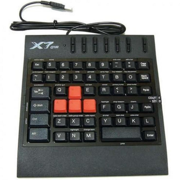 Imagine Tastatura 7x fast Gaming USB, A4TECH G100