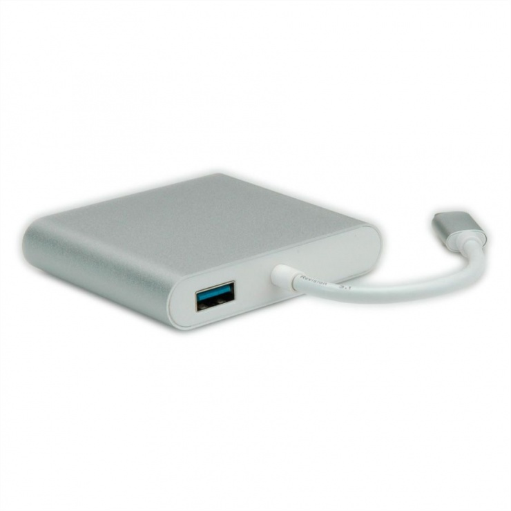 Imagine Docking station USB-C la HDMI 4K, USB 3.0, USB-C PD (Power Delivery), Gigabit LAN, Roline 12.02.10-1