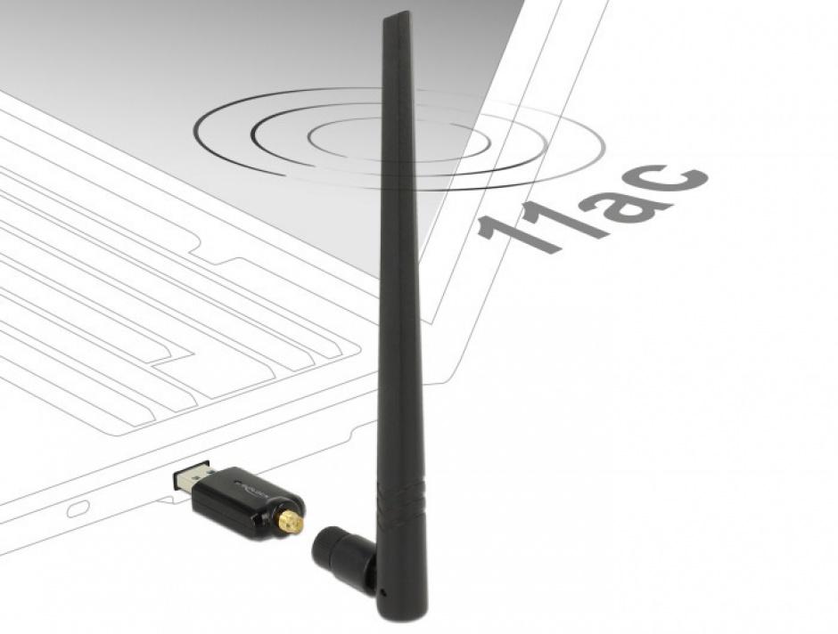 Imagine Placa de retea USB 3.0 Dual Band WLAN, Delock 12535-1