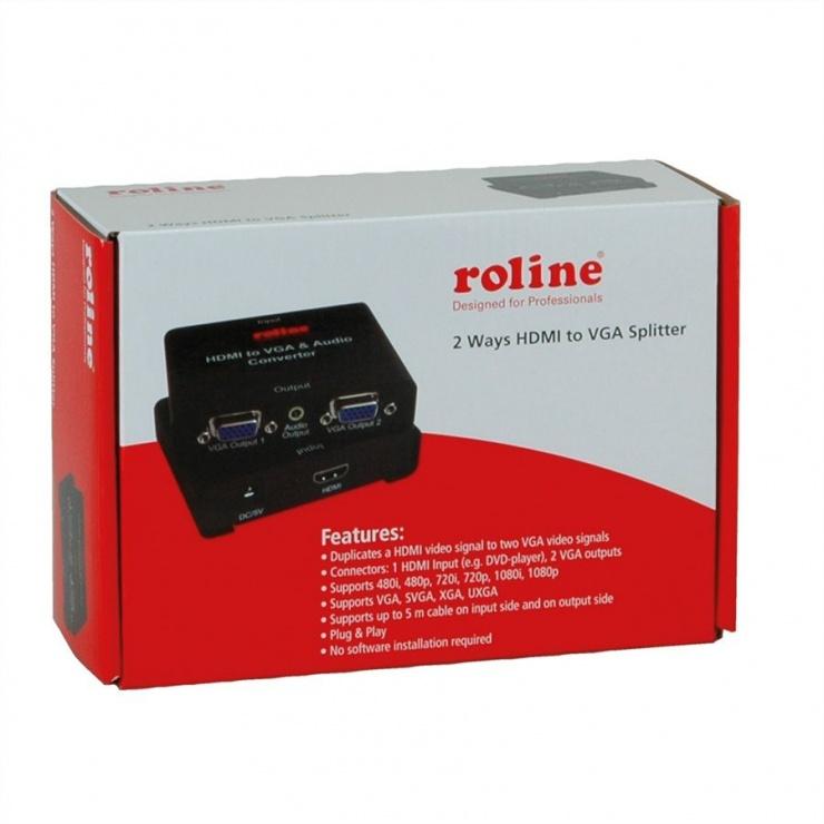 Imagine Adaptor HDMI la 2 x VGA, Roline 14.01.3526