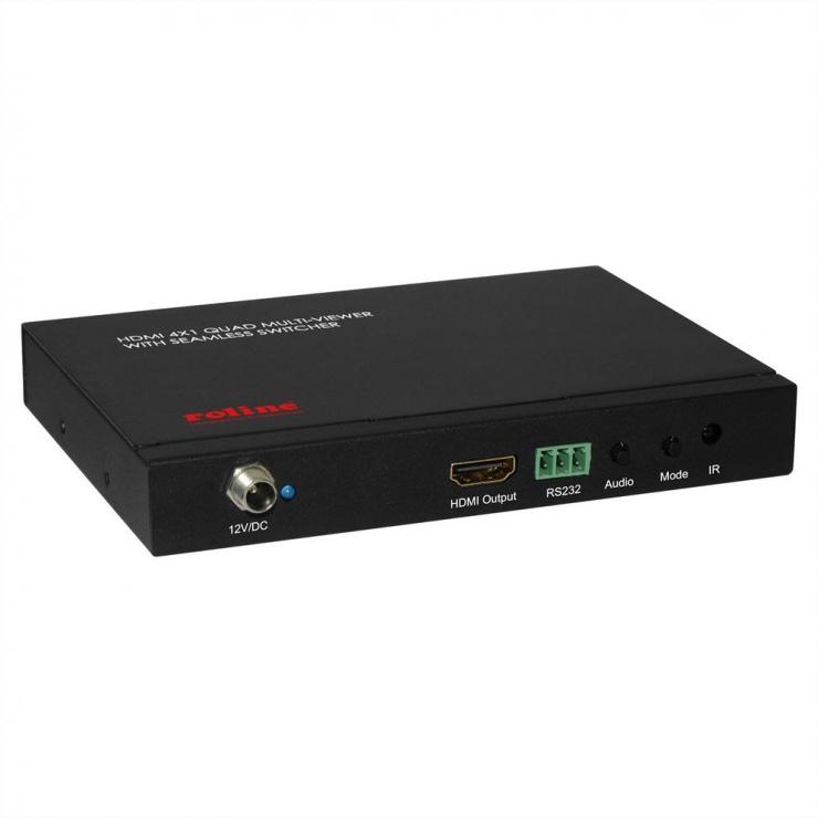 Imagine Switch HDMI cu 4 porturi QUAD Multi-Viewer cu Seamless, Roline 14.01.3569-2