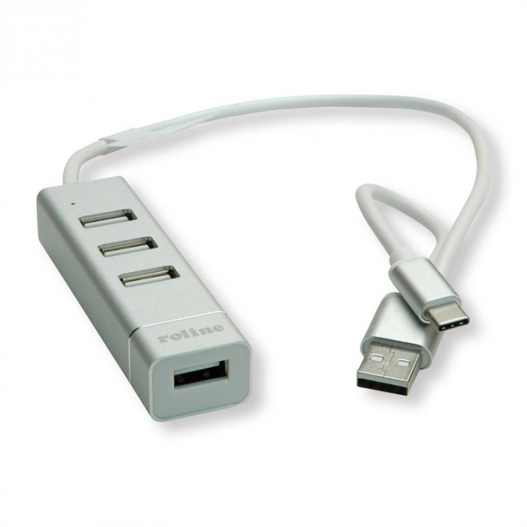Imagine Hub USB 2.0 tip A+C cu 4 porturi, Roline 14.02.5037
