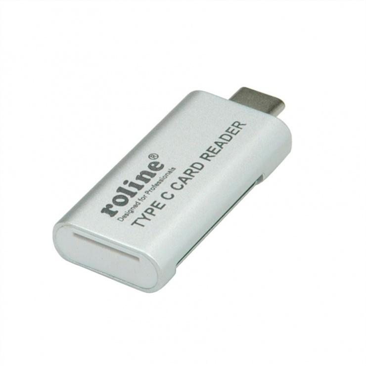 Imagine Cititor de carduri USB 3.0 tip C la SD/MicroSD, Roline 15.08.6259