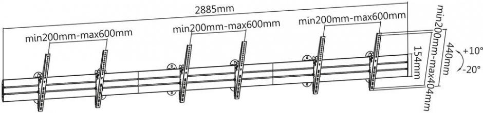"""Imagine Suport perete Menu Board 3 TV/monitoare max 127cm (50""""), Roline 17.03.1253-1"""
