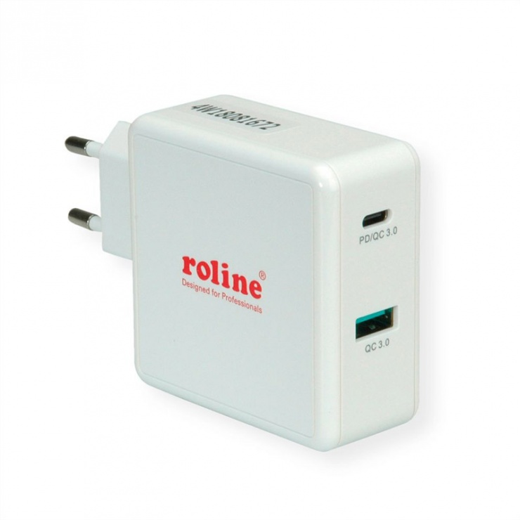 Imagine Incarcator priza cu 2 porturi 1 x QC (Quick Charge/Incarcare rapida) 3.0 3A + 1 x C (PD), 49.5W, Roline 19.11.1032