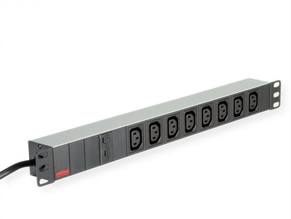 """Imagine Prelungitor PDU 19"""" C20 3600W la 8 prize IEC320 C13 Aluminiu 2m, Roline 19.07.1627-13"""