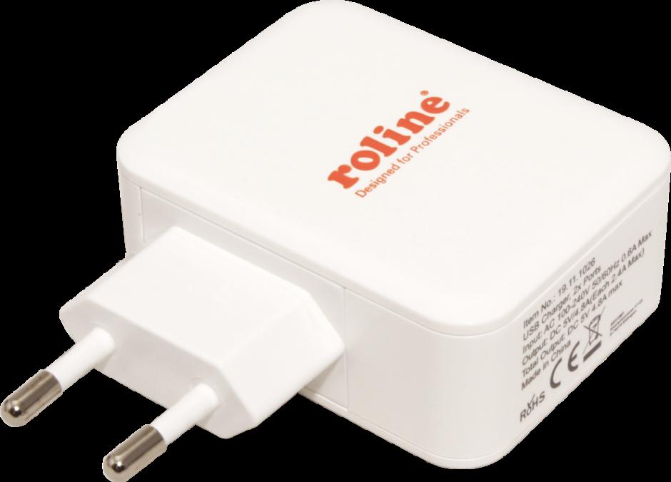 Imagine Incarcator priza cu 2 x USB 4.8A, Roline 19.11.1026-2