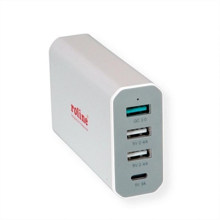 Imagine Incarcator priza 4 porturi USB ( 3 x USB-A 2.4A + 1 x USB-C 3A) max. 40W, Roline 19.11.1031