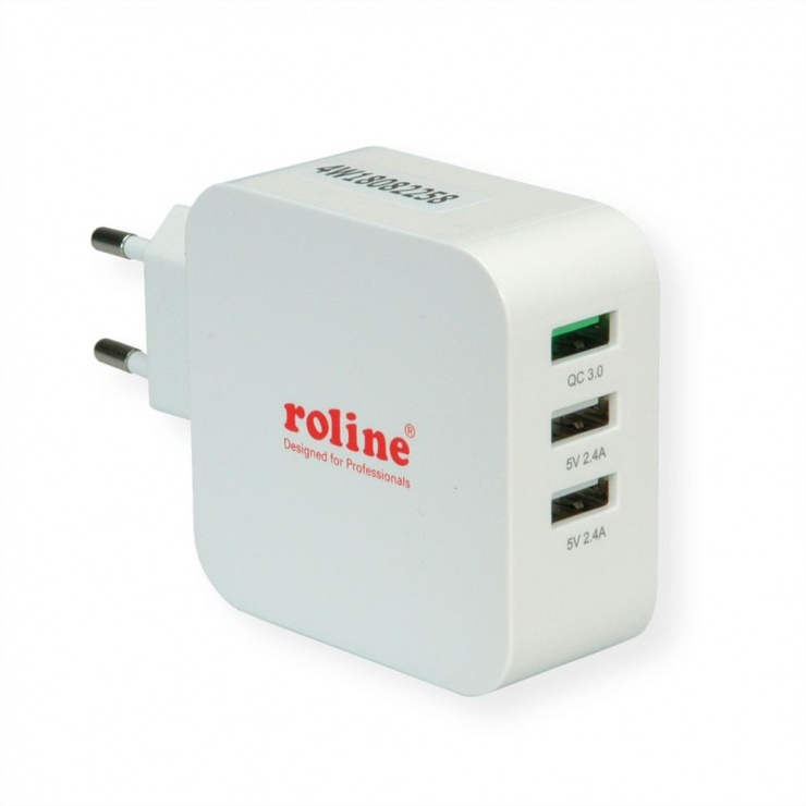 Imagine Incarcator priza 3 porturi USB (1 x Quick Charge/Incarcare rapida 3.0 3A + 2 x 5V/2.4A) 36W, Roline 19.11.1033