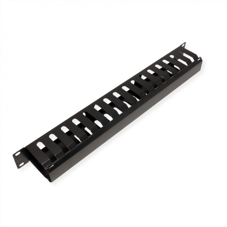 "Imagine Front Panel 19"" 1U cu organizator pentru cabluri 40x60mm RAL7035 Negru, Value 26.99.0305-1"