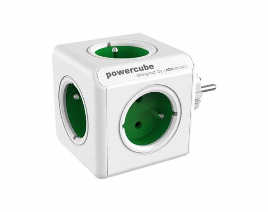 Imagine Prelungitor in forma de cub PowerCube Original 5 prize Schuko Verde, Allocacoc
