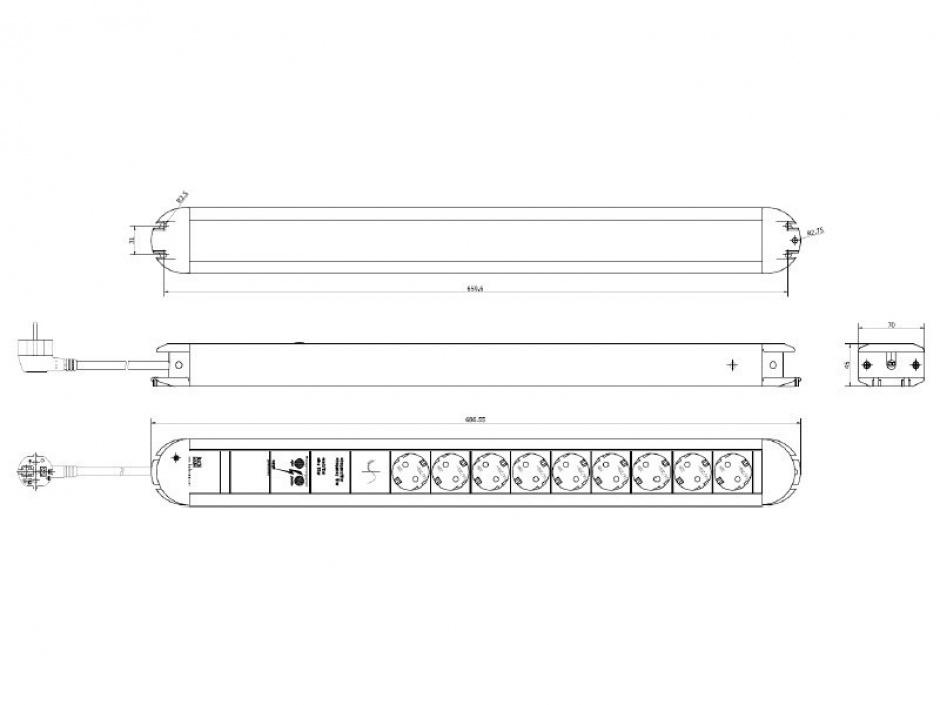 Imagine Prelungitor cu protectie PRIMO cu 9 x Schuko aluminiu 1.75m, Bachmann 331.007