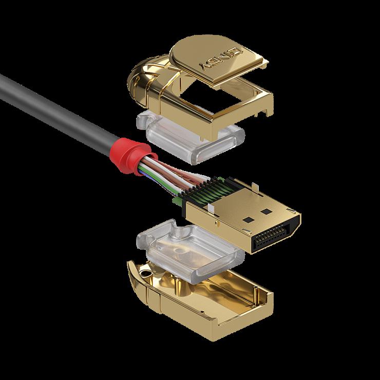 Imagine Cablu Displayport 8K UHD (DP certificat) v1.4 T-T 3m Gold Line, Lindy L36293