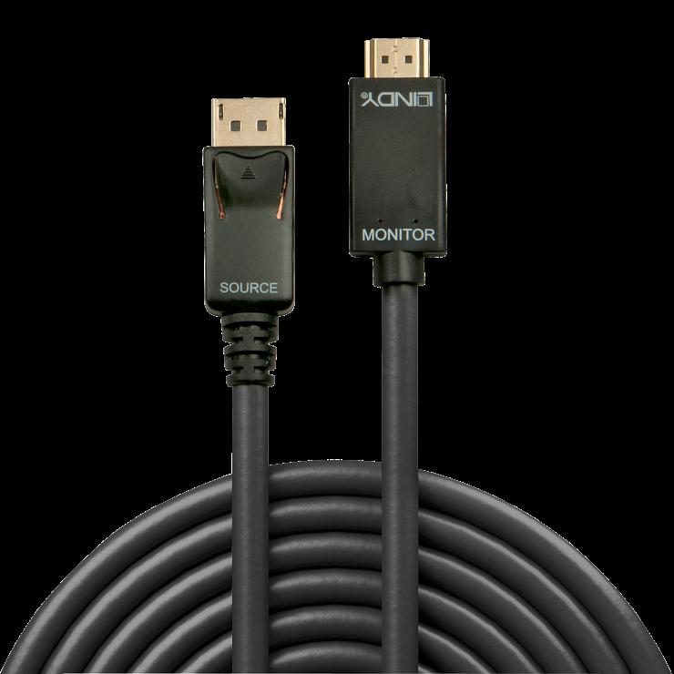 Imagine Cablu Displayport la HDMI 4K 3m T-T Negru, Lindy L36923-1