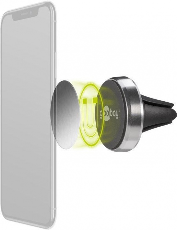 Imagine Suport magnetic auto Slim metalic pentru smartphone (35mm), Goobay 38685-4