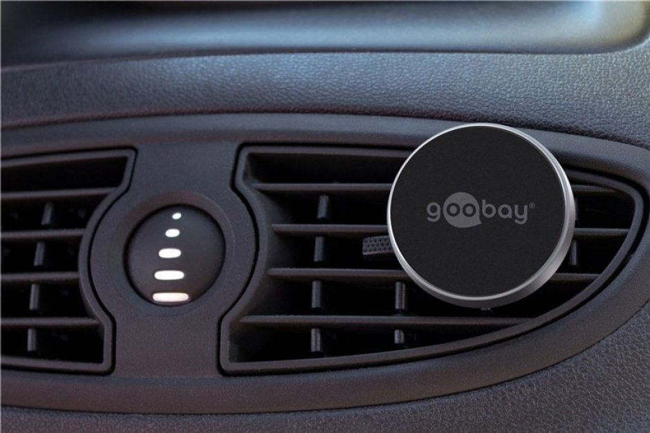 Imagine Suport magnetic auto Slim metalic pentru smartphone (35mm), Goobay 38685-9