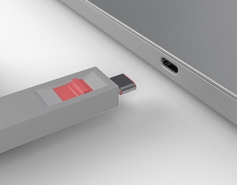 Imagine Set 4 bucati Port Blocker USB tip C + cheie Roz, Lindy L40425-2