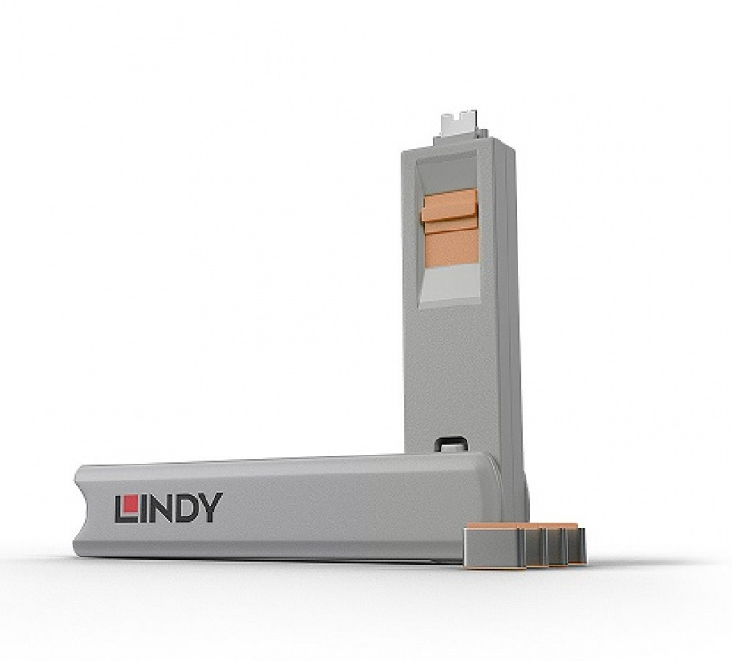 Imagine Set 4 bucati Port Blocker USB tip C/Thunderbolt 3 + cheie Orange, Lindy L40428