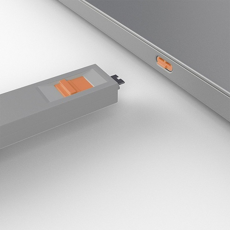 Imagine Set 4 bucati Port Blocker USB tip C/Thunderbolt 3 + cheie Orange, Lindy L40428-3