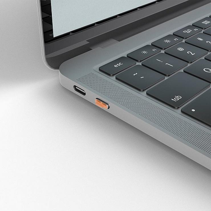 Imagine Set 4 bucati Port Blocker USB tip C/Thunderbolt 3 + cheie Orange, Lindy L40428-4