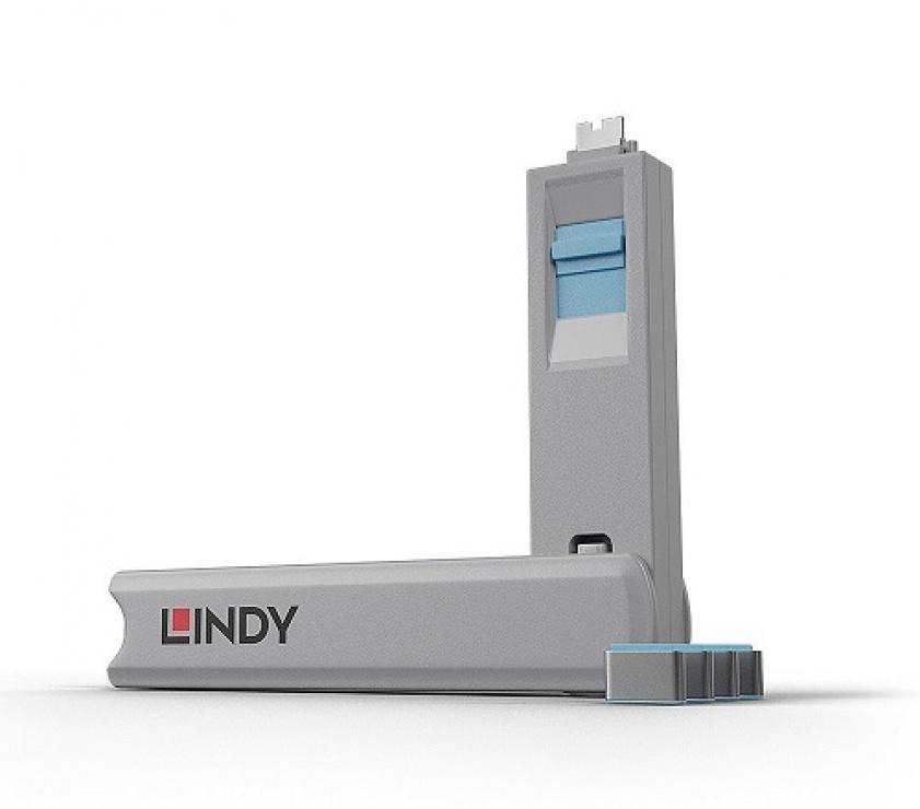 Imagine Set 4 bucati Port Blocker USB tip C/Thunderbolt 3 + cheie Albastru, Lindy L40465