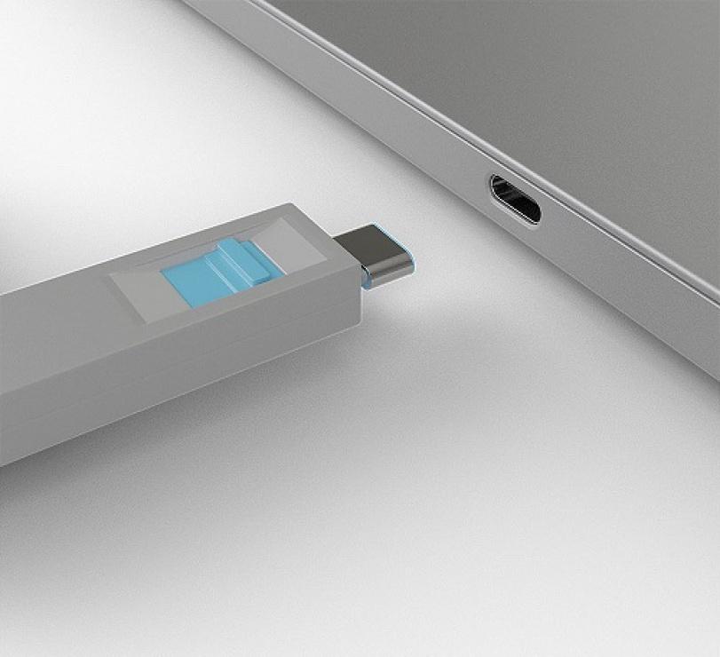 Imagine Set 4 bucati Port Blocker USB tip C/Thunderbolt 3 + cheie Albastru, Lindy L40465-2