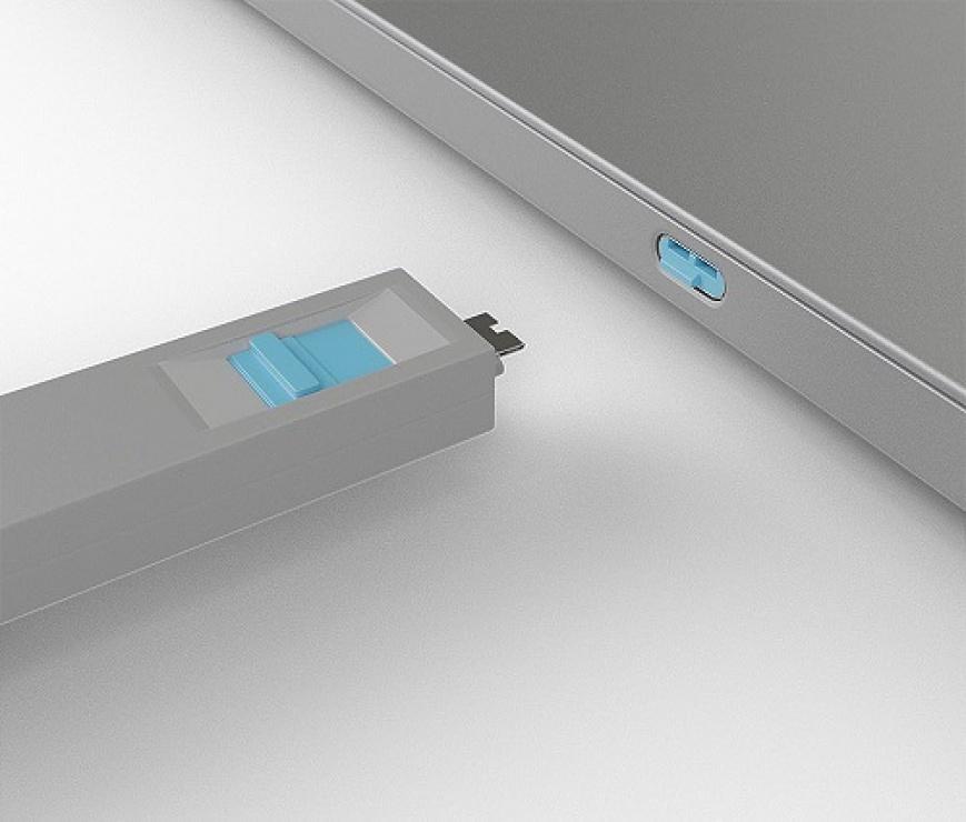 Imagine Set 4 bucati Port Blocker USB tip C/Thunderbolt 3 + cheie Albastru, Lindy L40465-3