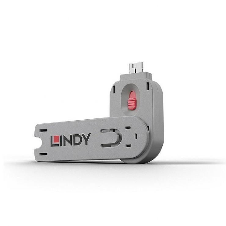 Imagine Cheie pentru blocarea portului USB-A (L40460 & L40450) Roz, Lindy L40620