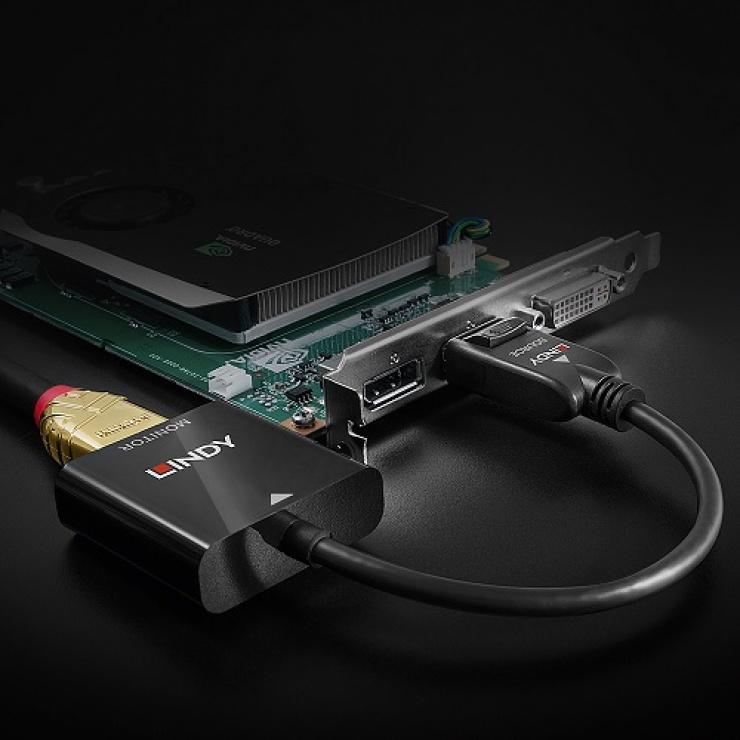 Imagine Adaptor DisplayPort 1.2 la HDMI 2.0 18G Activ T-M, Lindy L41068