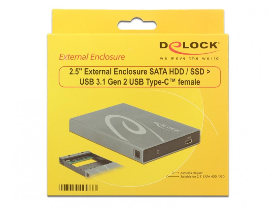 Imagine Rack extern SATA HDD / SSD la USB 3.1 tip C, Delock 42587