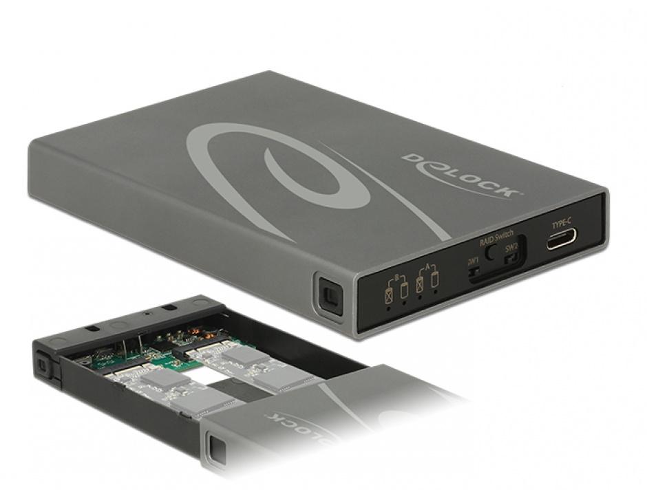 Imagine Rack extern 2 x M.2 Key B SSD la USB 3.1 Gen 2 USB-C cu RAID, Delock 42589