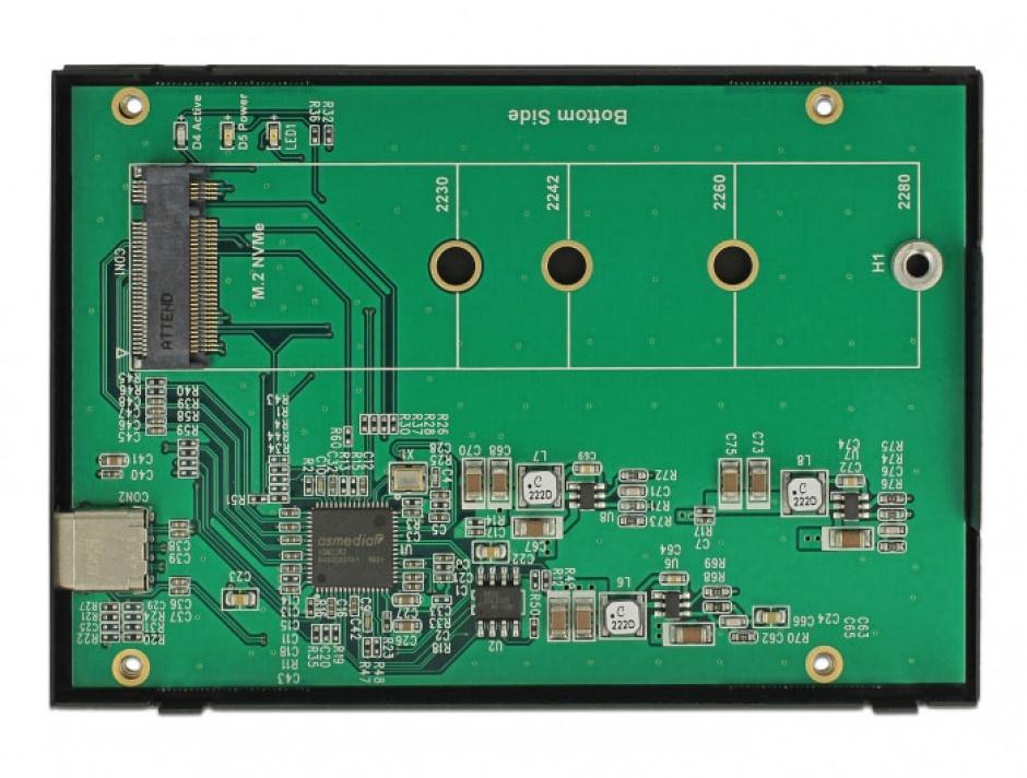 """Imagine Rack extern 2.5"""" pentru M.2 NVMe PCIe SSD la USB-C 3.1 cu protectie EDS, Delock 42609-2"""