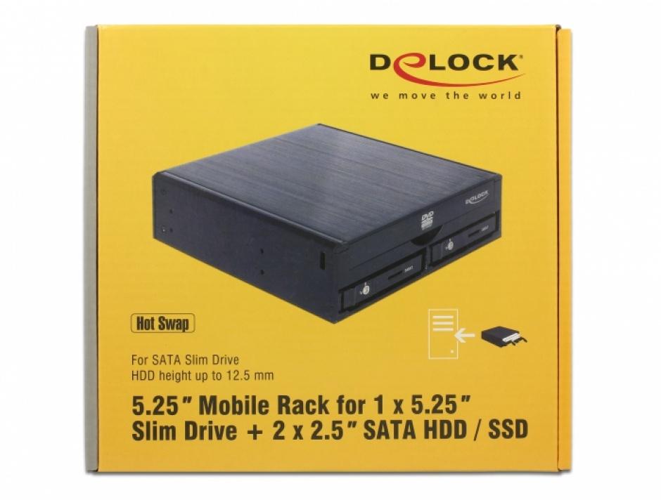"""Imagine Rack mobil intern 5.25"""" pentru 1 x 5.25"""" Slim Drive + 2 x 2.5"""" SATA HDD / SSD, Delock 47230"""