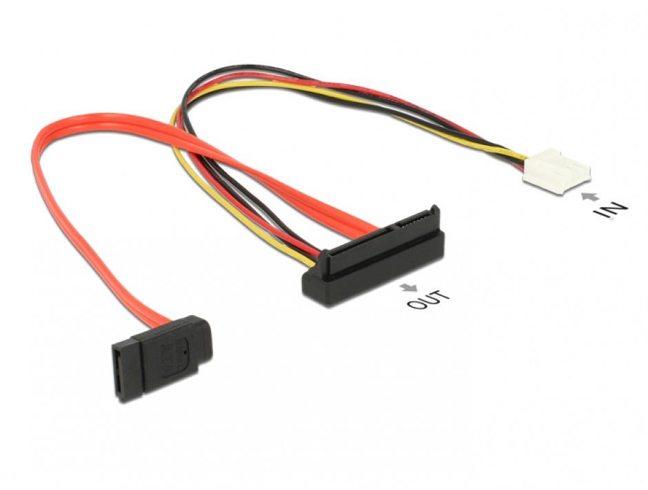 Imagine Cablu de alimentare SATA 7 pini + alimentare Molex la SATA 22 pini unghi jos 30cm, Delock 84854 -1