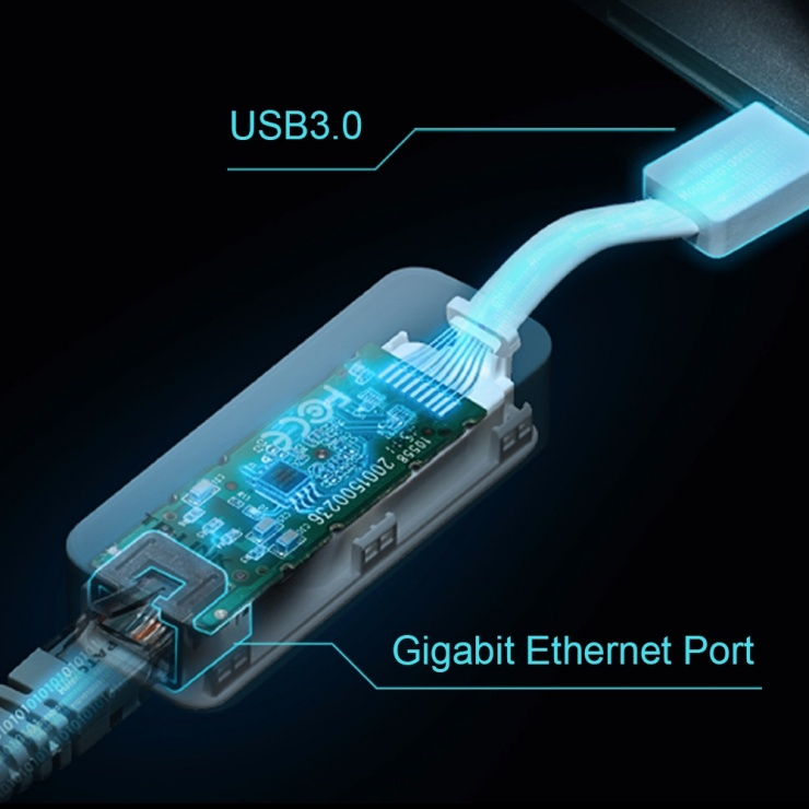 Imagine Adaptor retea USB 3.0 la Gigabit Ethernet, TP-LINK UE300-3