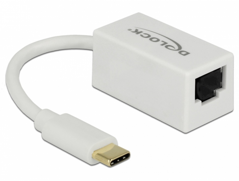 Imagine Adaptor USB 3.1-C Gen 1 la Gigabit LAN compact alb, Delock 65906