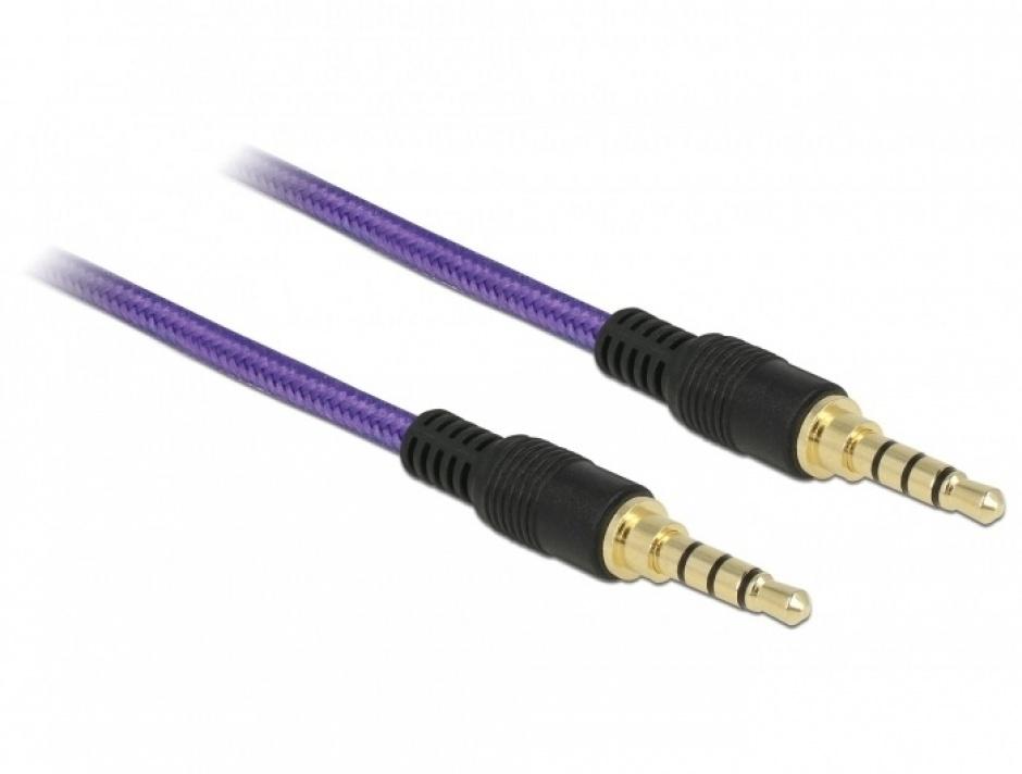 Imagine Cablu audio jack stereo 3.5mm (pentru smartphone cu husa) T-T 4 pini 1m mov, Delock 85596