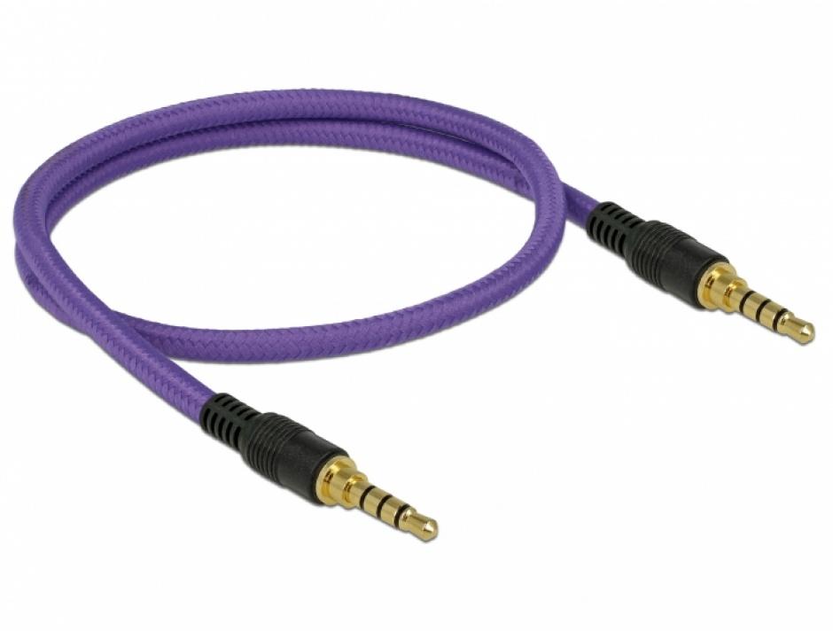 Imagine Cablu audio jack stereo 3.5mm (pentru smartphone cu husa) T-T 4 pini 0.5m mov, Delock 85593-1