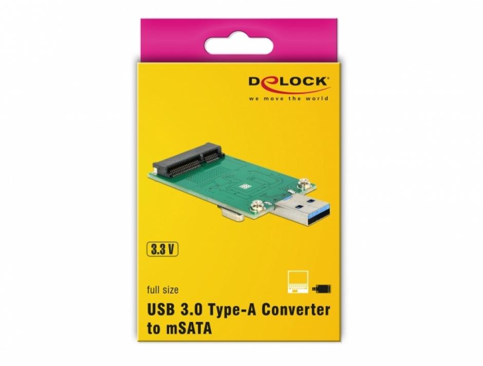Imagine Convertor USB 3.0 la mSATA full size, Delock 62681