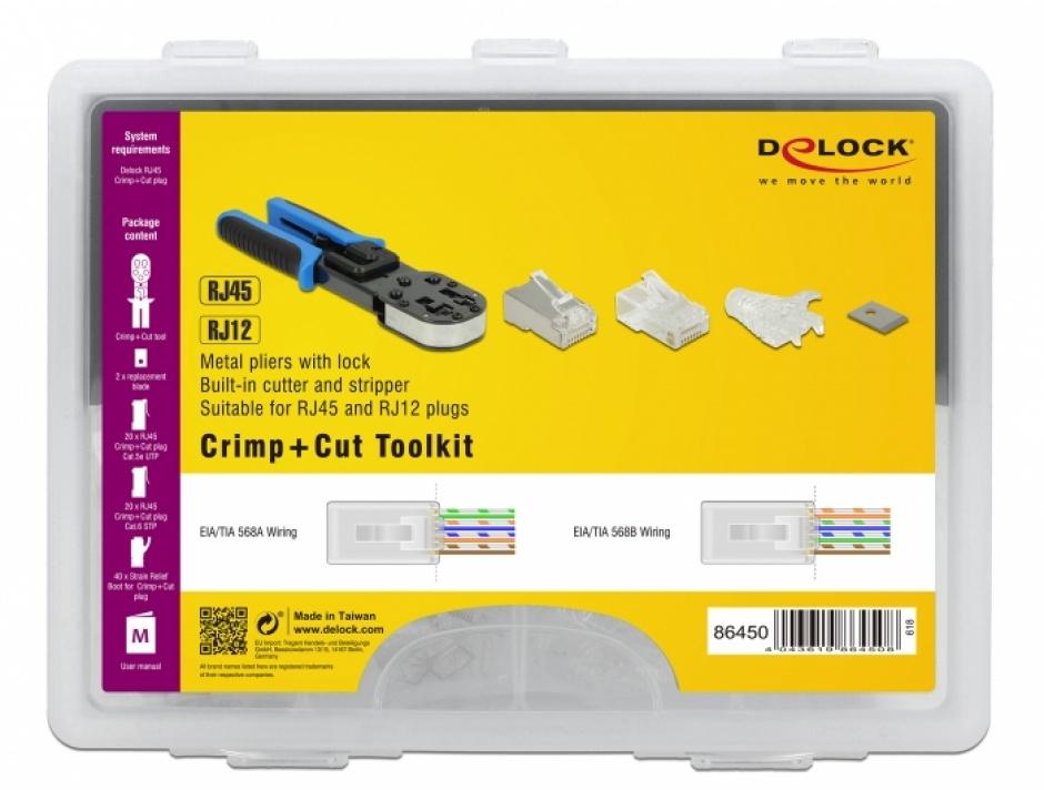 Imagine Set Cleste de sertizat RJ45 / RJ12 + accesorii Crimp+Cut, Delock 86450